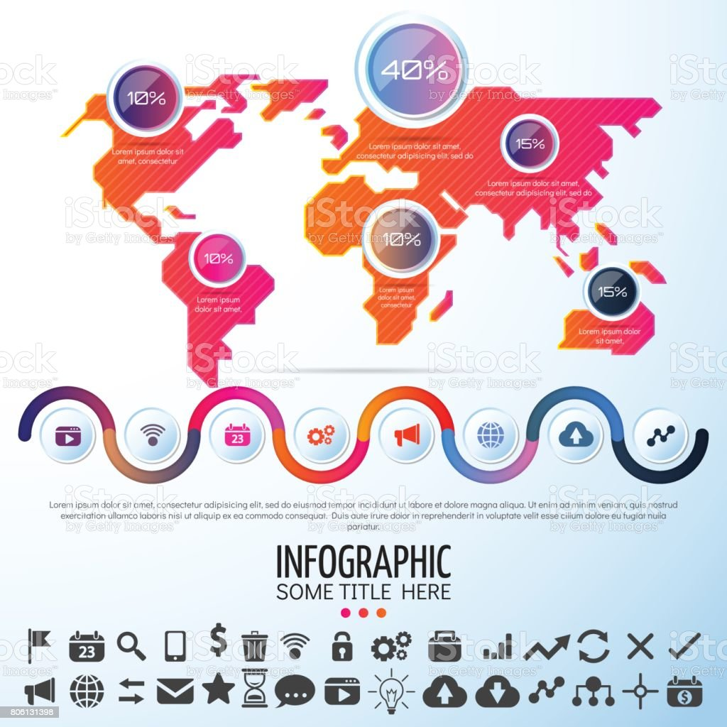 World map infographics design template stock vector art 806131398 world map infographics design template royalty free stock vector art gumiabroncs Choice Image