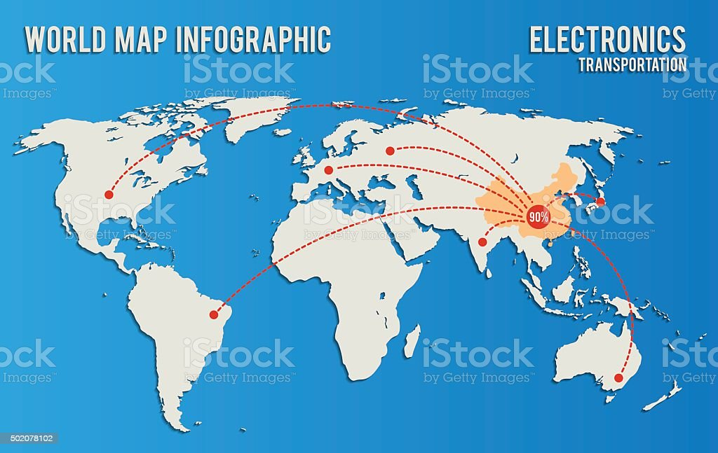 world map infographics influence supply electronic vector art illustration
