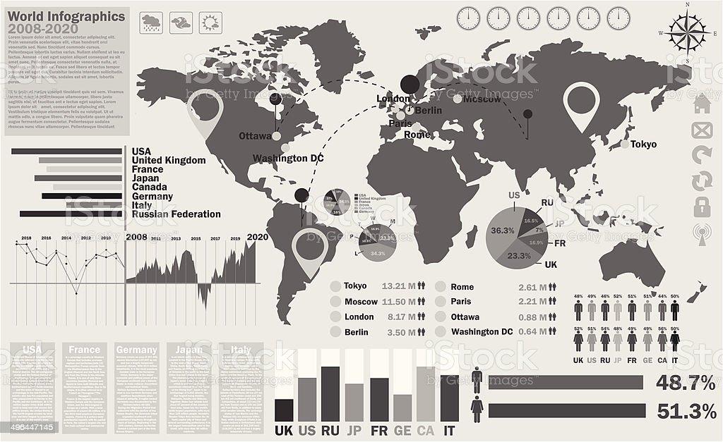 Carte du monde infographies stock vecteur libres de droits libre de droits