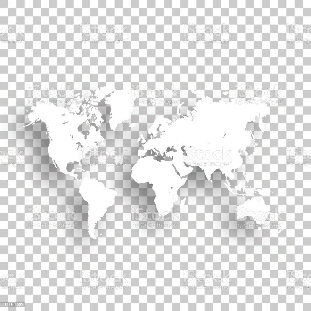 World Map isolated on blank background vector art illustration