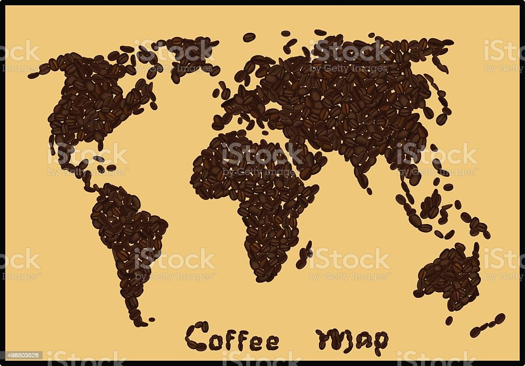 World map made of coffee beans. vector art illustration