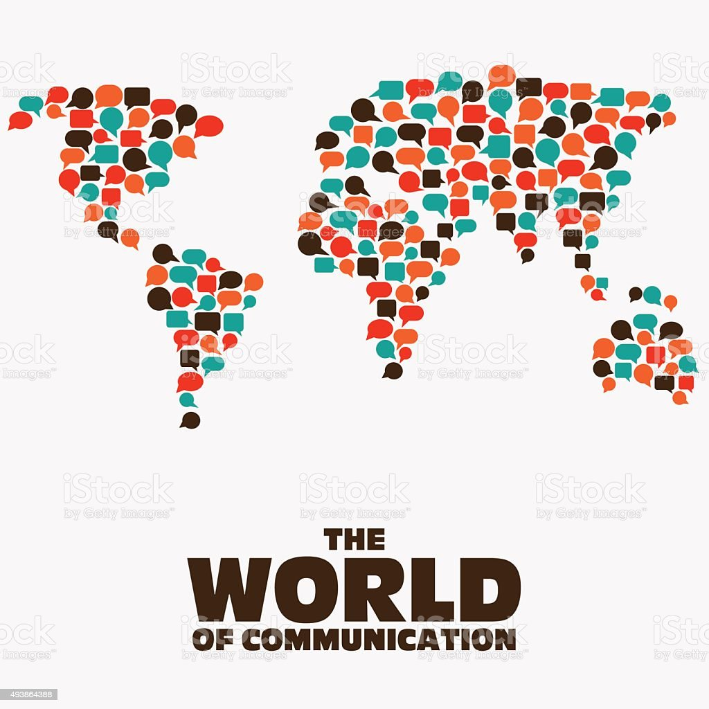 World map made of colorful speech bubbles Translating, communication concept vector art illustration