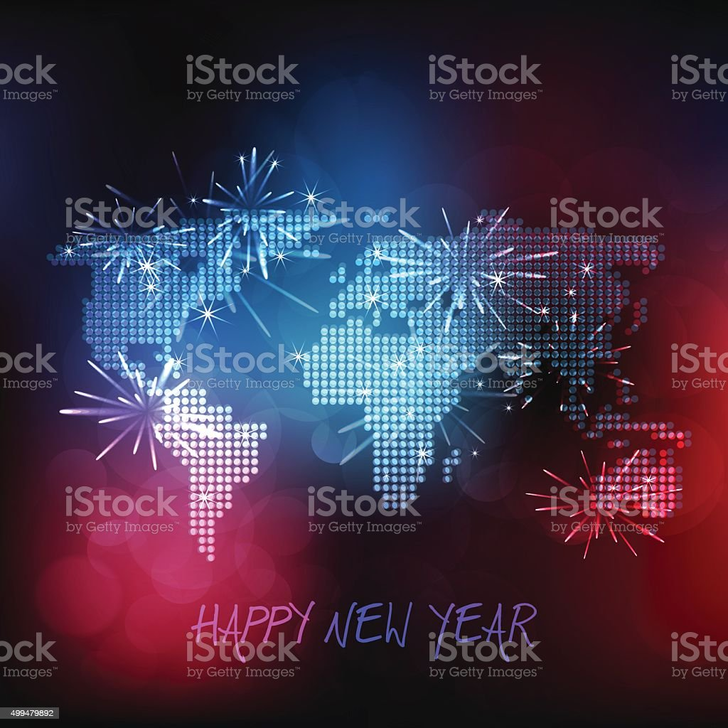 World map made of dots on multicolor bubble background vector art illustration