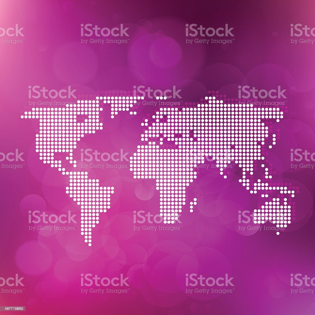 World map made of dots on purple bubble background vector art illustration