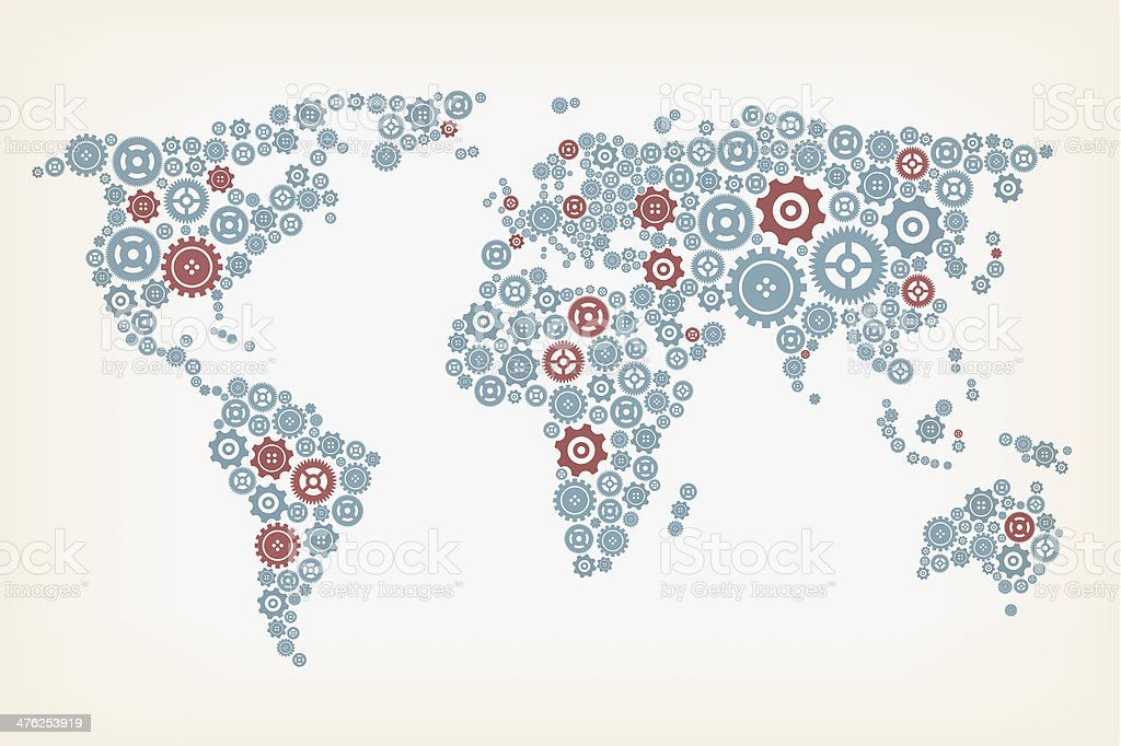 World map made of gears royalty-free stock vector art