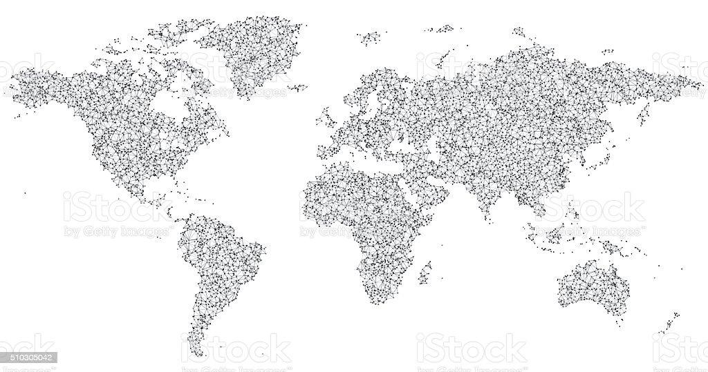 World Map Network Black And White vector art illustration