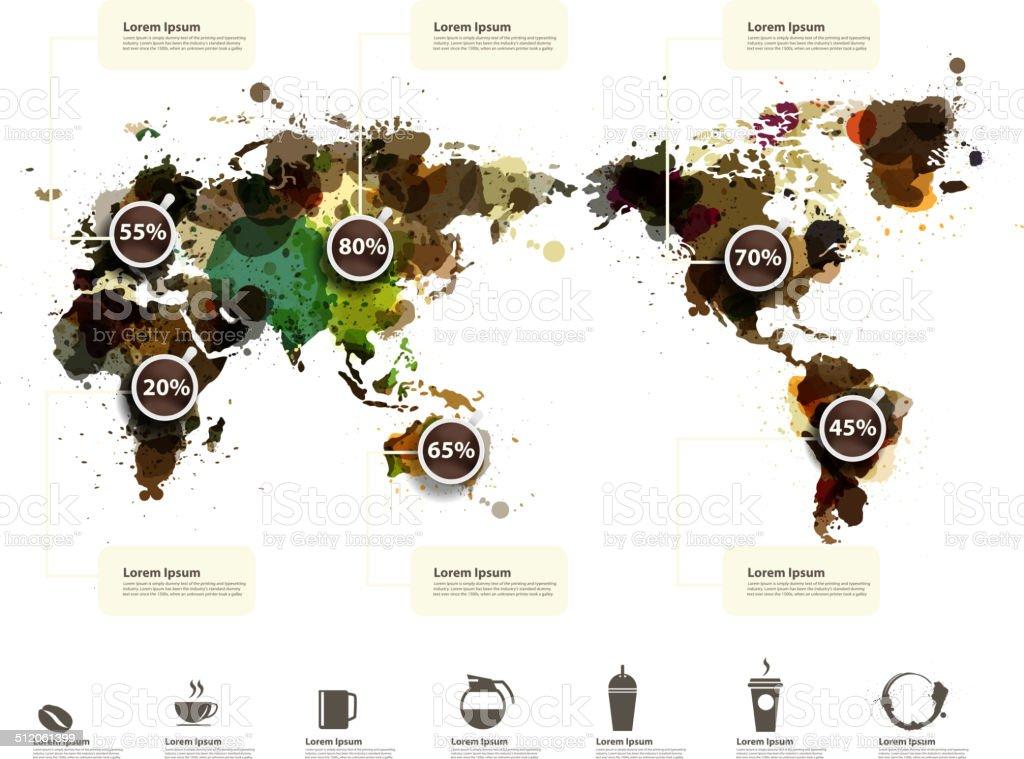 World Map of coffee ink splatter vector art illustration