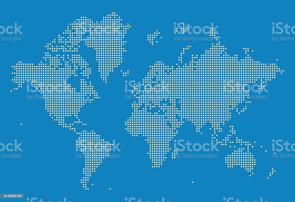World Map of Dots vector art illustration