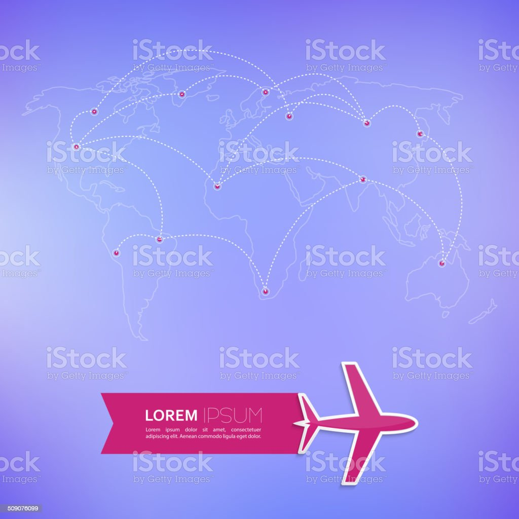 World map on a blurred background vector art illustration