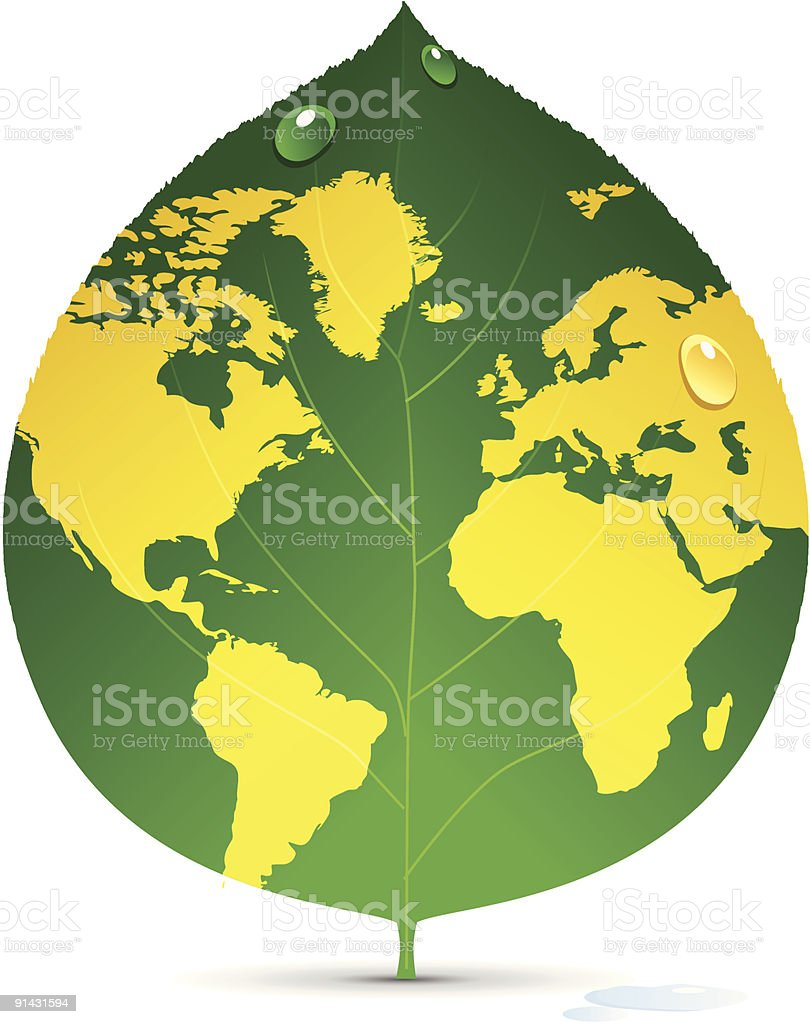 World map on a leaf royalty-free stock vector art