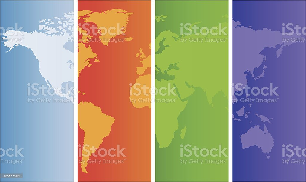 World map on colored panels royalty-free stock vector art