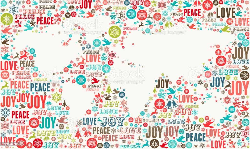World Map on Holiday Christmas Background Pattern vector art illustration