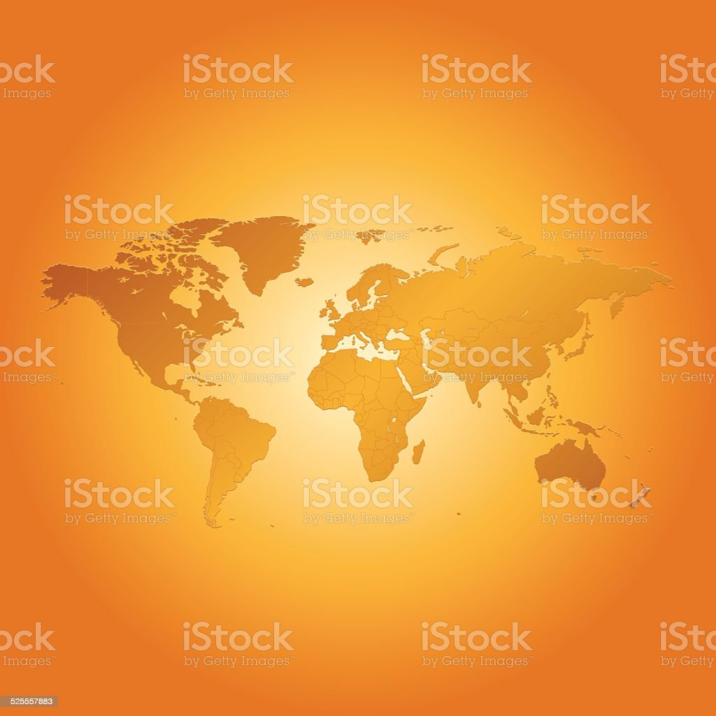 World map on orange sunny background vector art illustration