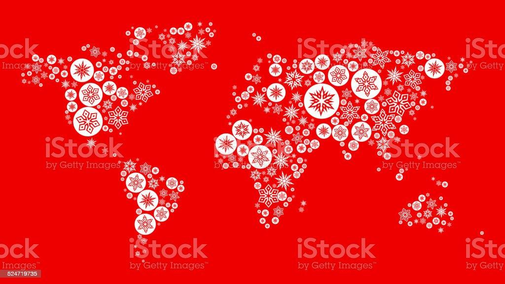 World Map on Red Background vector art illustration