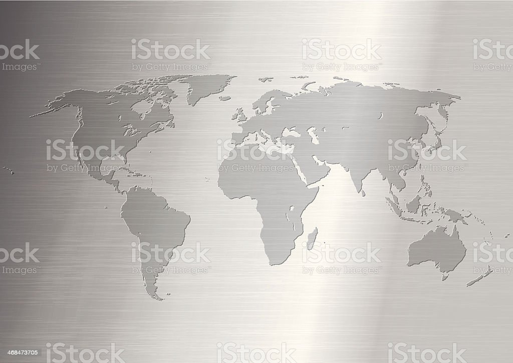 World Map on Stainless steel royalty-free stock vector art