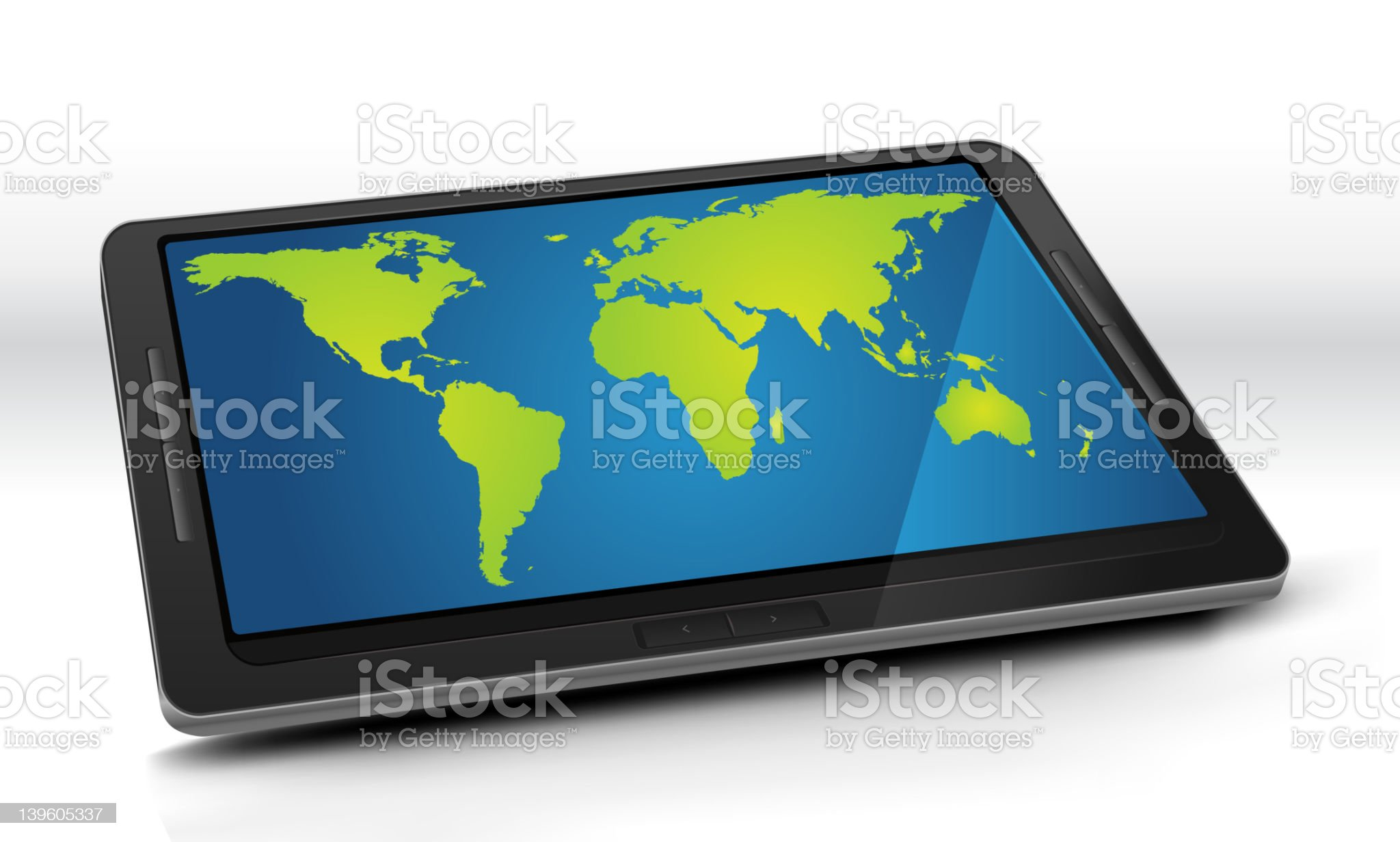 World Map On Tablet PC royalty-free stock vector art
