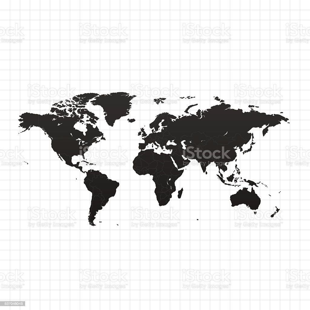 World map on white background with grid vector art illustration