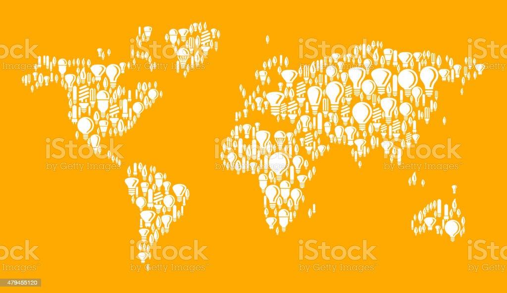World Map on White Vector Lightbulb Pattern Background vector art illustration