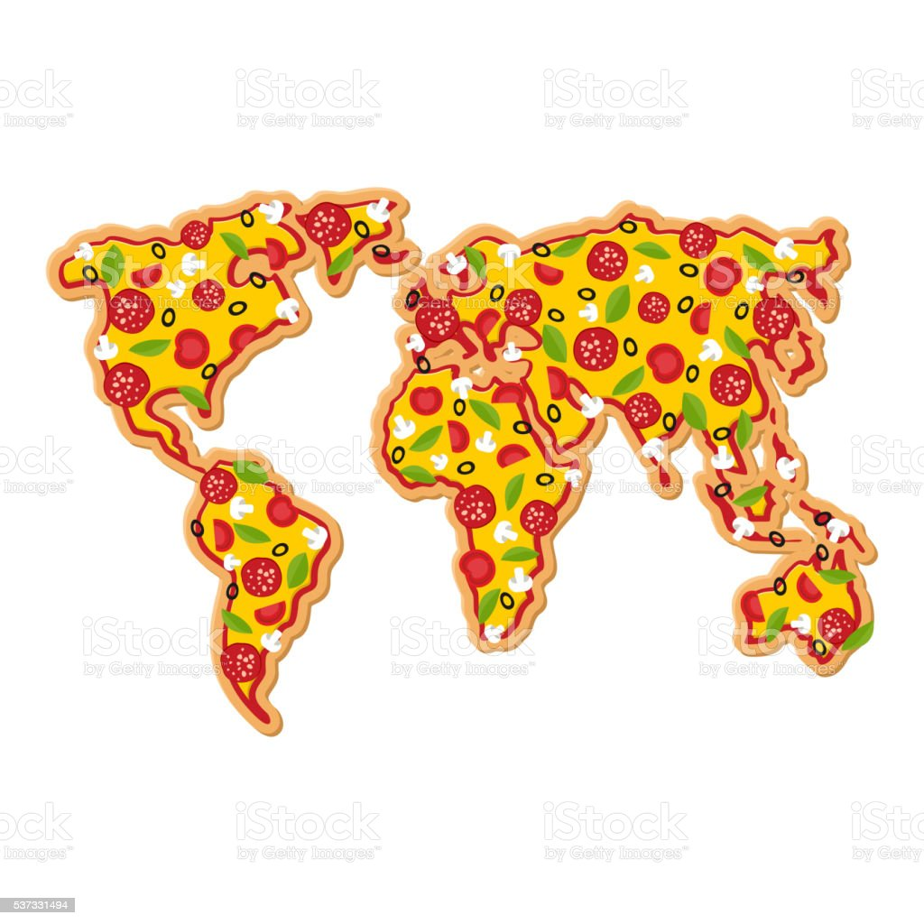 World Map pizza. Continents of planet earth fast food. Geography vector art illustration