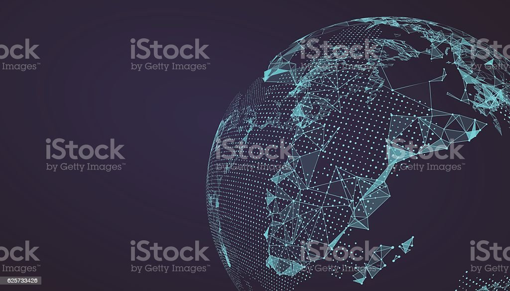 World map point, line, composition, representing the global. vector art illustration