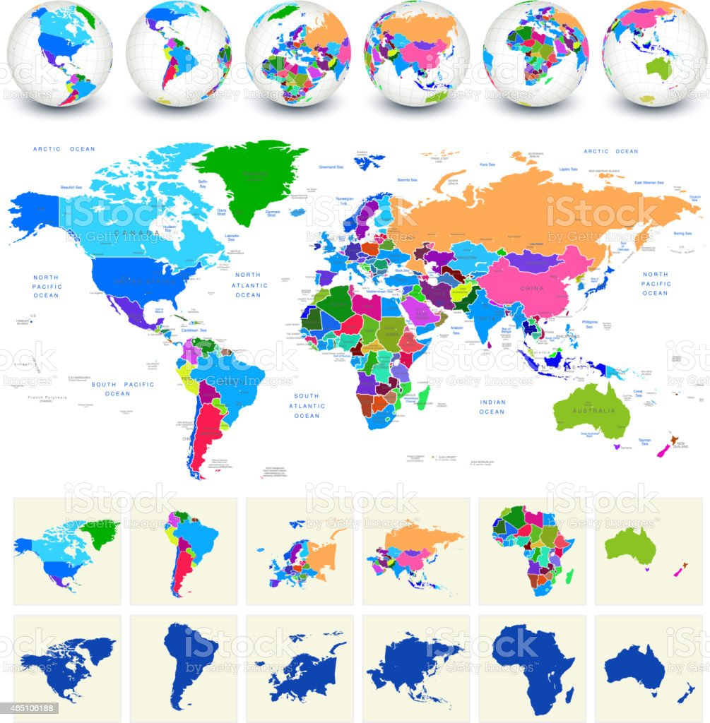 World Map royalty free vector art with globes vector art illustration