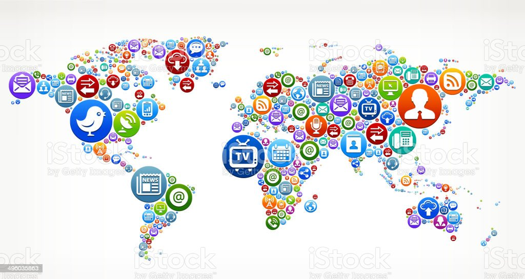 World Map royalty-free vector Social Networking and Internet Icon Set vector art illustration