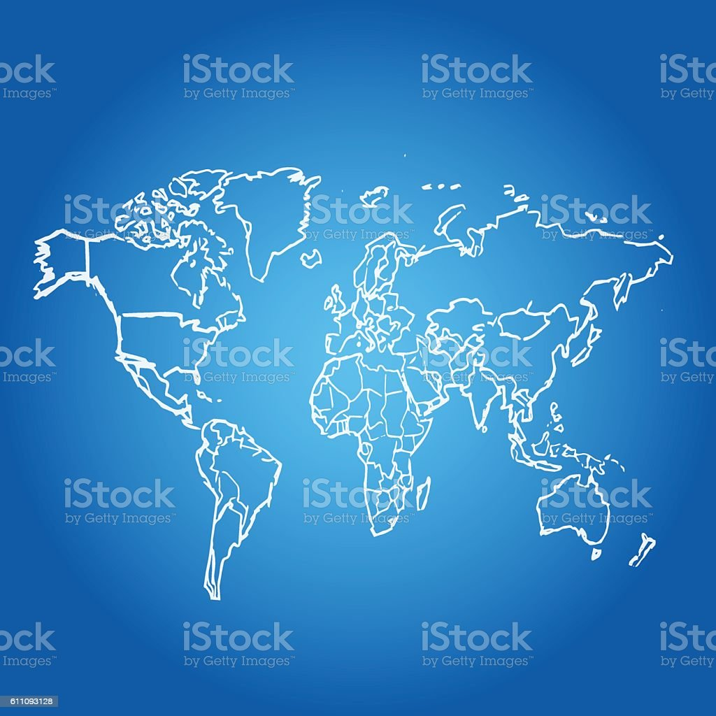World map scribbled white  on blue glow background vector art illustration
