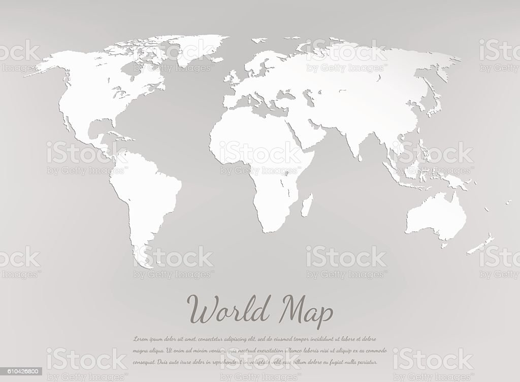 World map silhouette. Paper card map. Vector royalty-free stock vector art