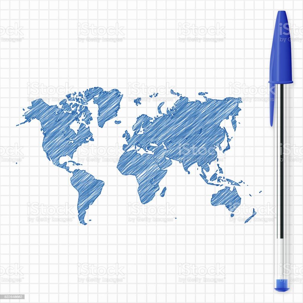 World map sketch on grid paper, blue pen vector art illustration