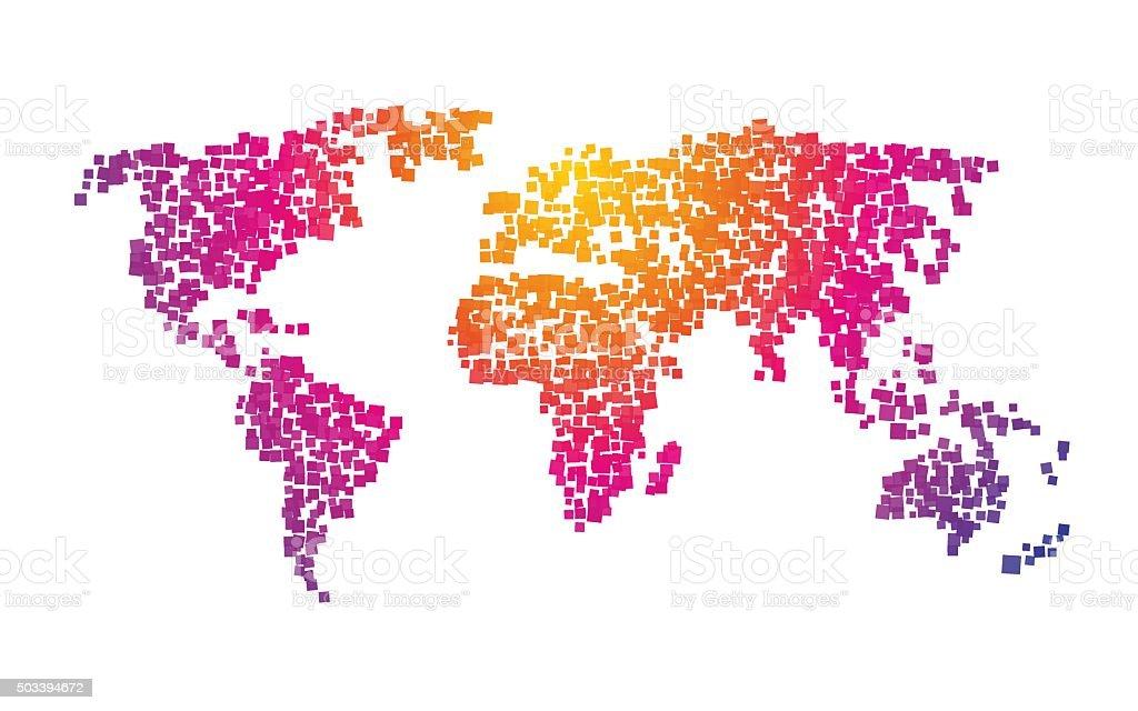 world map squares color gradient vector art illustration