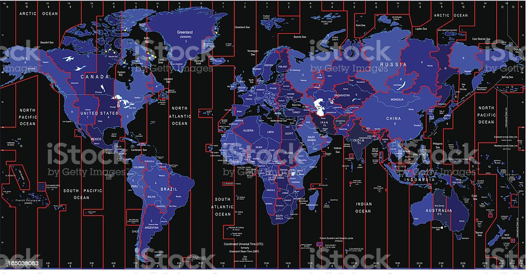 World Map -  Time Zones royalty-free stock vector art