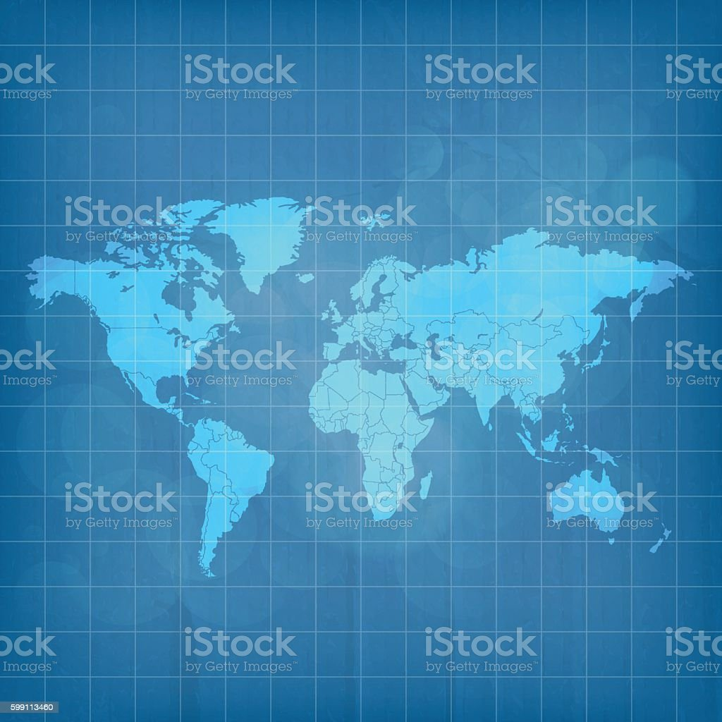 World map translucent icy blue on blueprint grid background vector art illustration