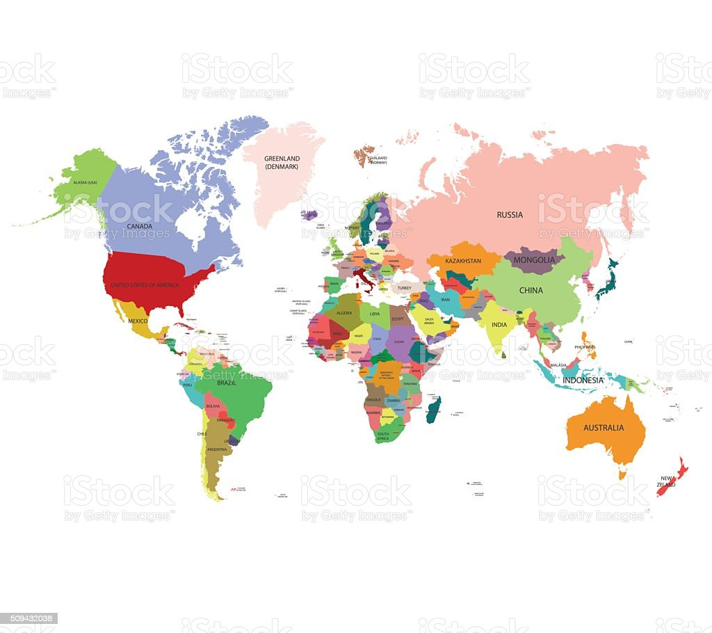 World map, vector background vector art illustration