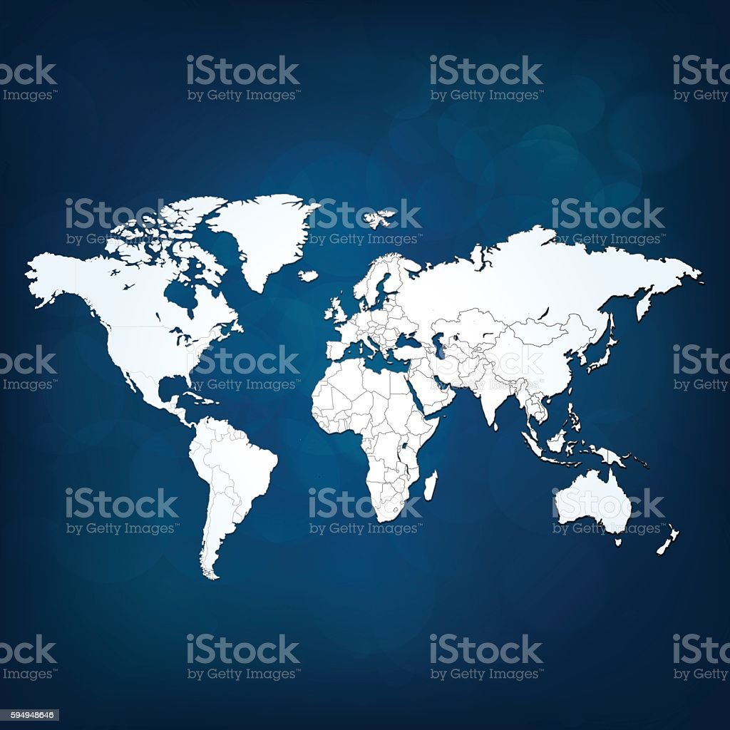 World map white light on dark blue sky background vector art illustration