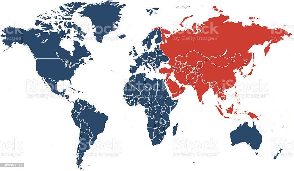 world map with Asia highlighted in red vector art illustration