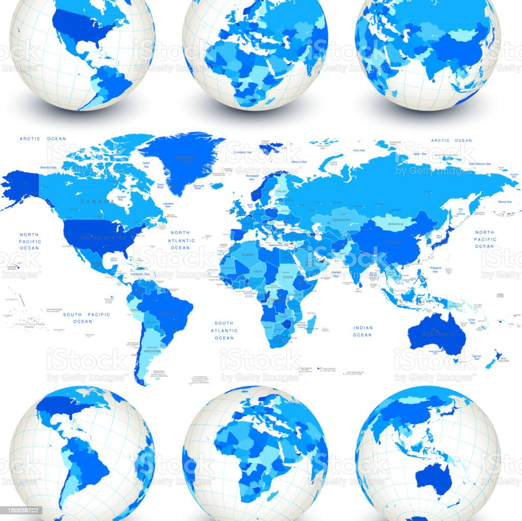 World map with blue globes and country outlines stock photo
