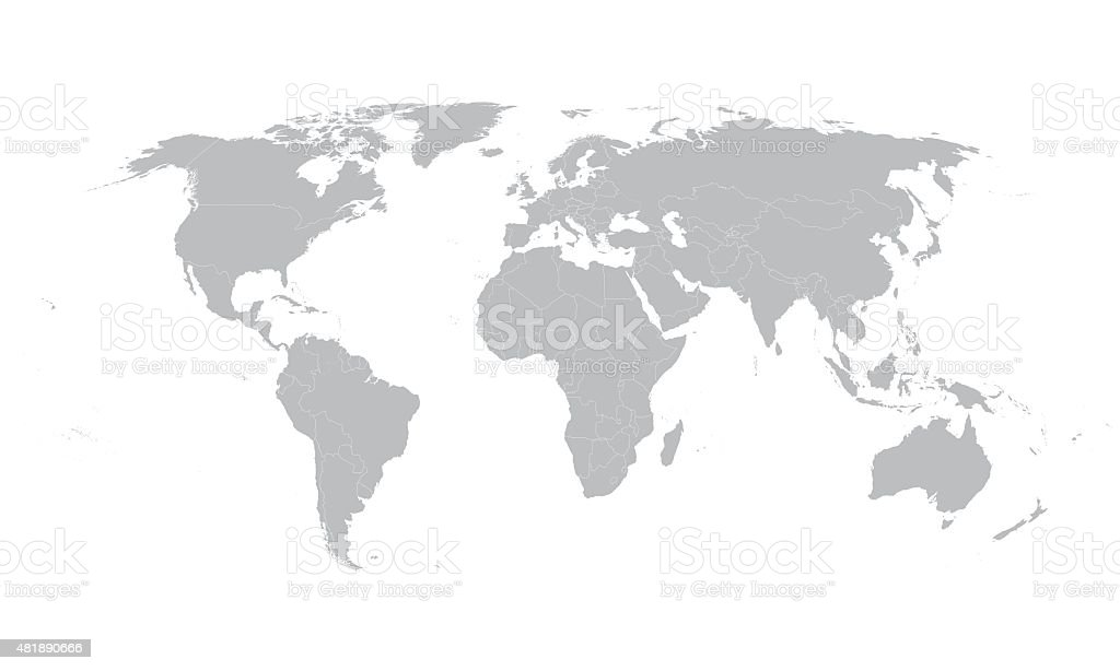 world map with borders of all countries vector art illustration