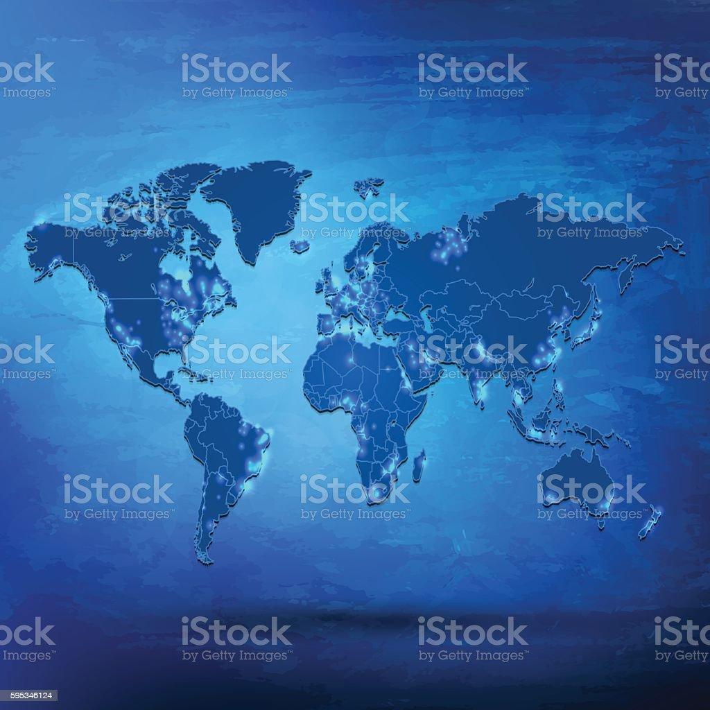 World map with city lights on blue grunge background vector art illustration