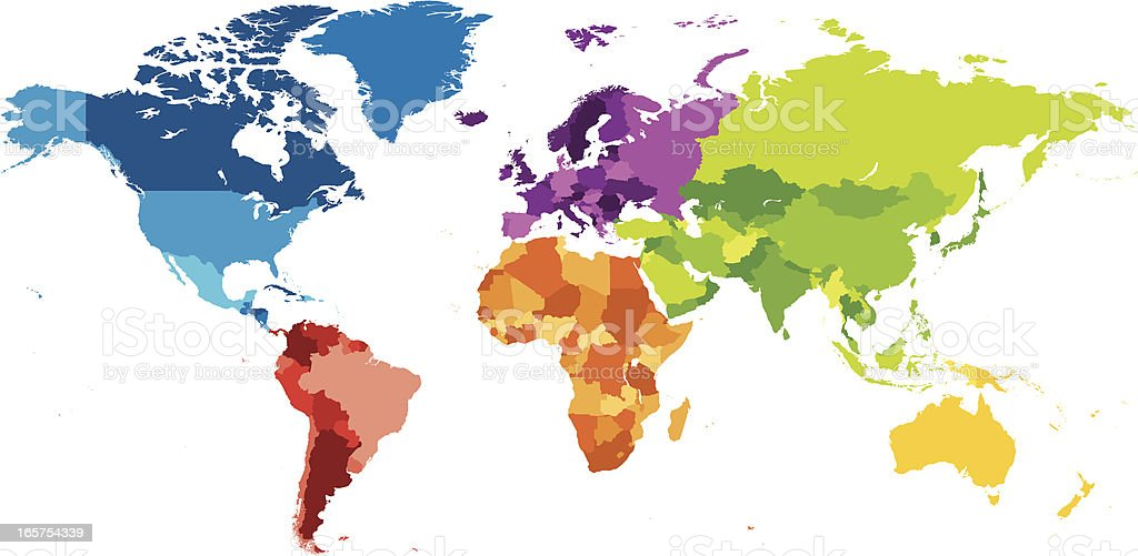 World map with different colored continents royalty-free stock vector art