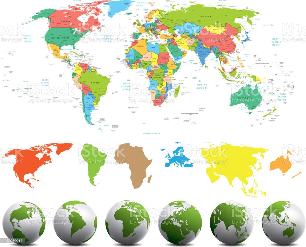 World map with different continents in various colors royalty-free stock vector art