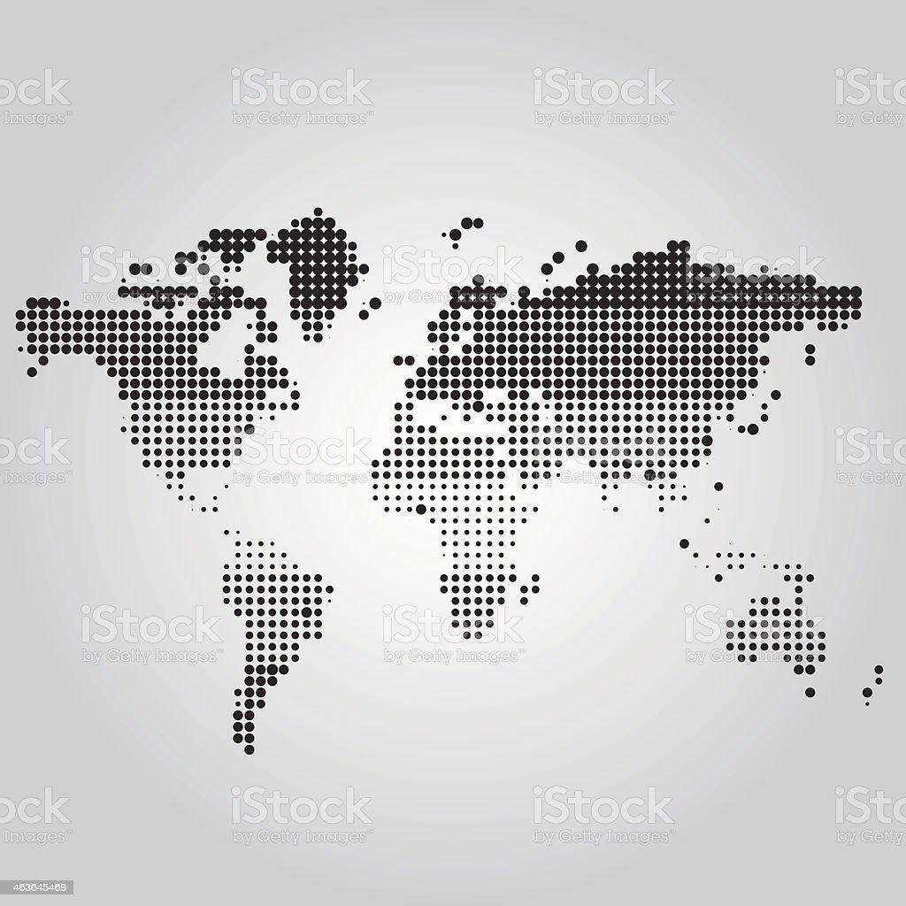 Mapa-múndi com pontos de tamanhos diferentes vetor e ilustração royalty-free royalty-free