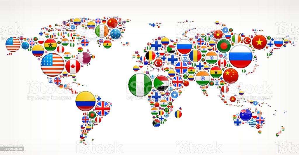 Flags vector world world map on stock vector le imaxes world map with flag buttons stock vector art gumiabroncs Image collections