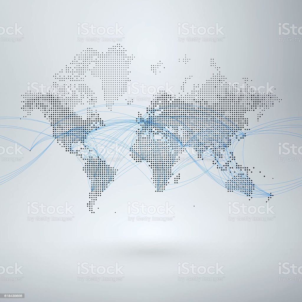 World Map with Flight Paths vector art illustration