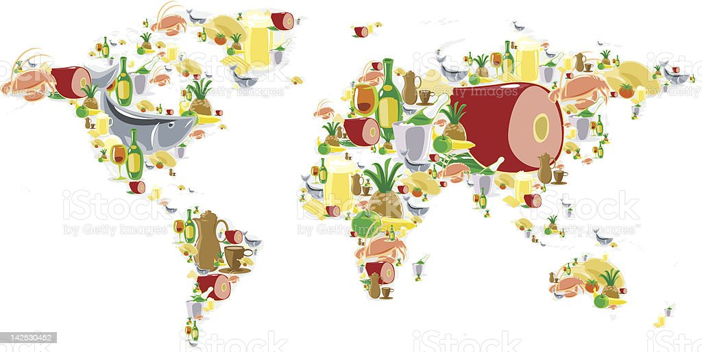 World map with food and drinks vector art illustration