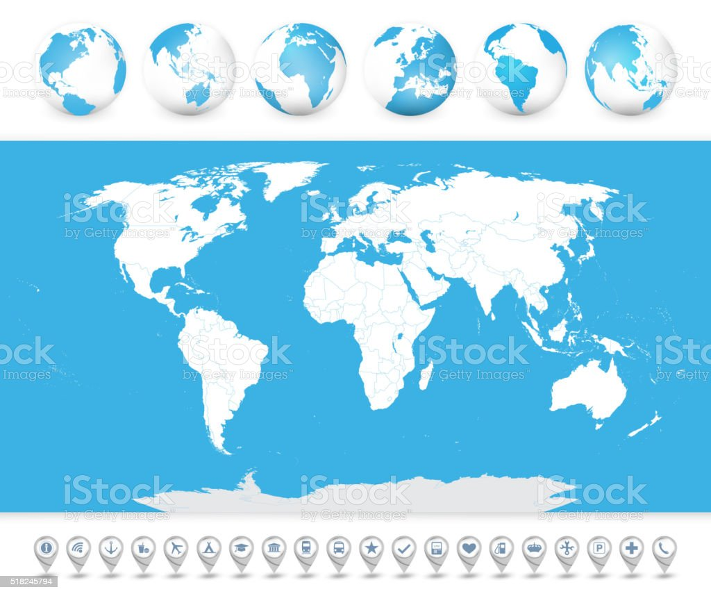 World Map with globes and icons vector art illustration