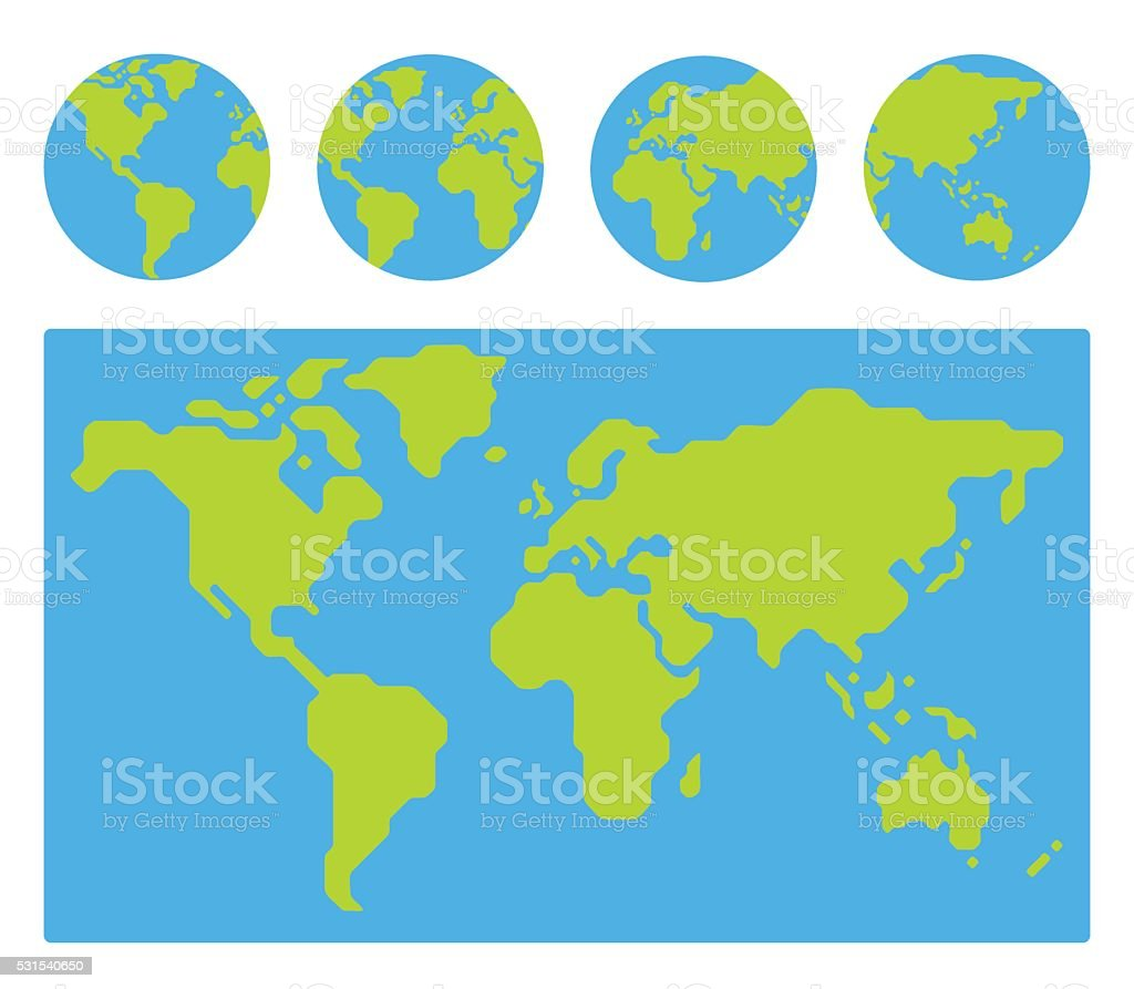 World map with globes vector art illustration