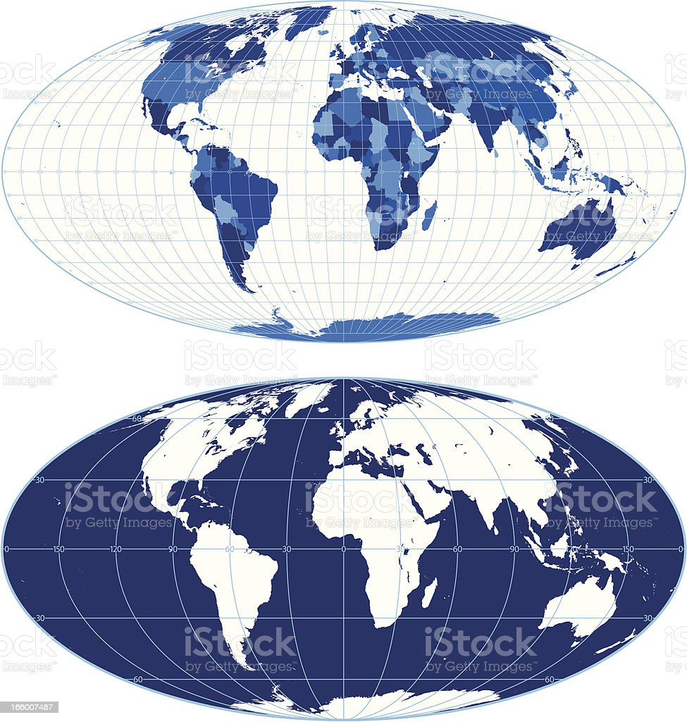 World map with graticules (Mollweide projection) vector art illustration