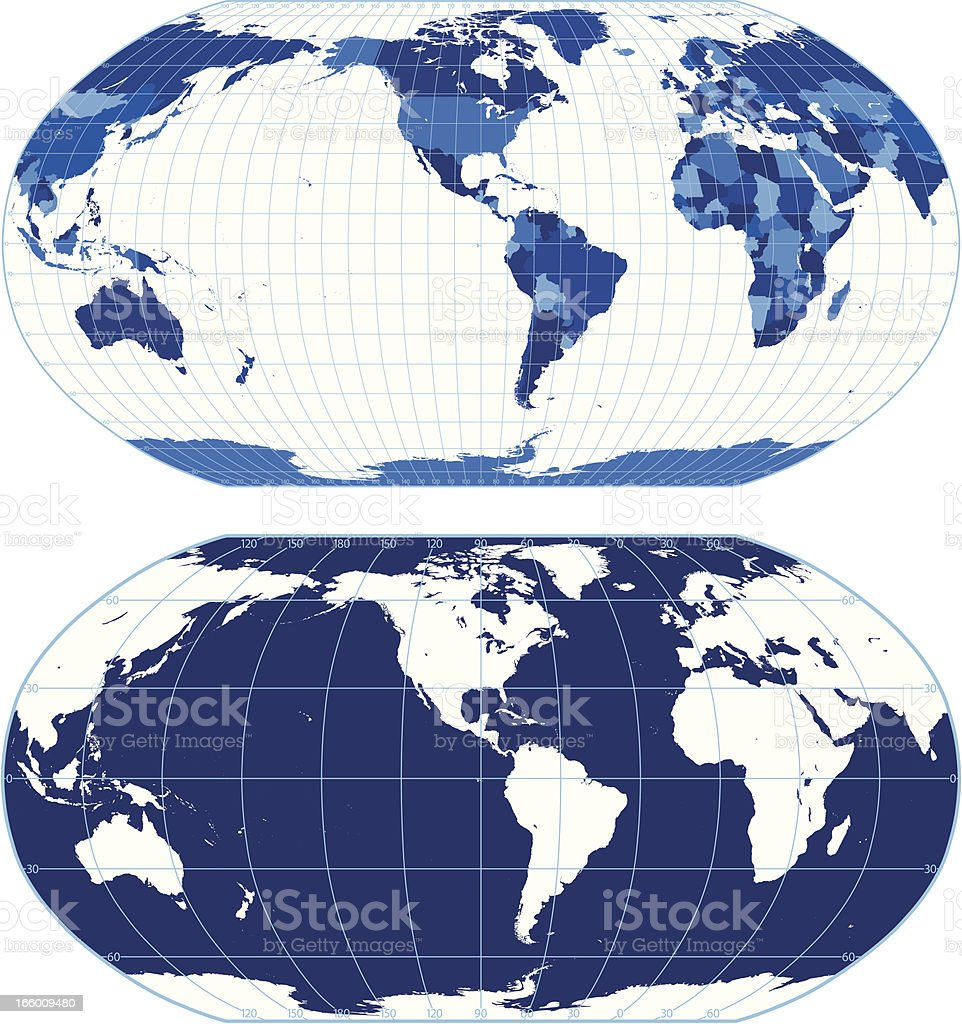 World map with graticules (Robinson projection) royalty-free stock vector art