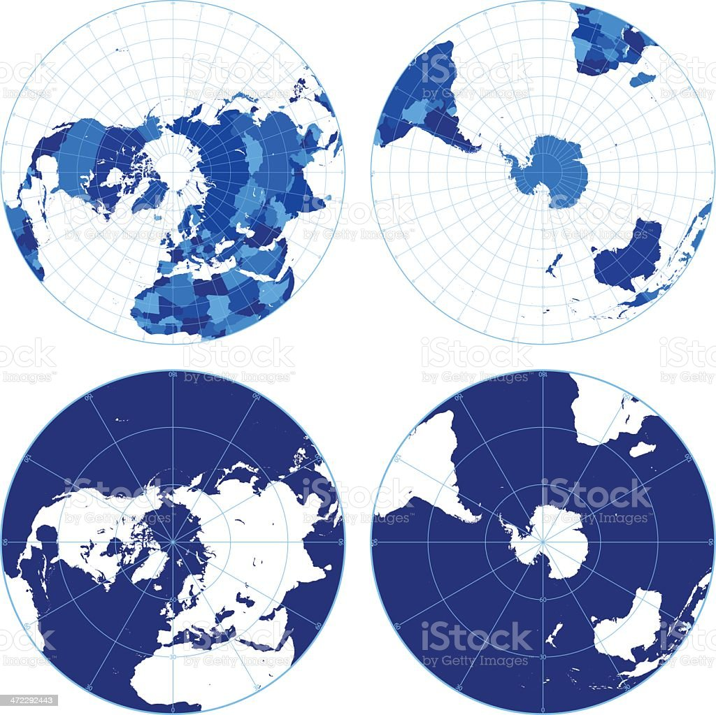 World map with graticules (northern/southern hemispheres) vector art illustration