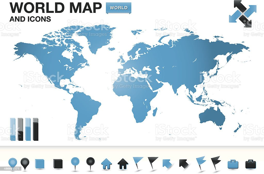World map with icons vector art illustration